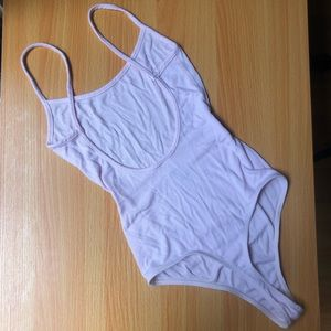 NWOT American Apparel Pink Thong Ribbed Bodysuit